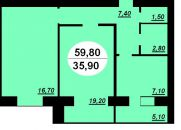 Продаж | Квартири - Хмельницький,  Заготзерно,  Красовського вул.,6А Цiна: 442 520грн. 16 297 $14 966 €(за курсом НБУ) Кількість кімнат:  2 Площа:  59.8 кв.м. - Квартири на DIM.KM.UA