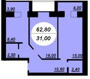 Продаж | Квартири - Хмельницький,  Заготзерно,  Красовського, 6а Цiна: 464 720грн. 17 115 $15 717 €(за курсом НБУ) Кількість кімнат:  2 Площа:  62.8/31/12.3 кв.м. - Квартири на DIM.KM.UA