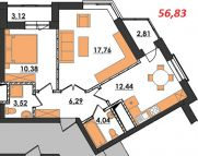Продаж | Квартири - Хмельницький,  Озерна Цiна: 7 600грн.(за кв. м.) 280 $257 €(за курсом НБУ) Кількість кімнат:  2 Площа:  56.83/28.14/7.56 кв.м. - Квартири на DIM.KM.UA