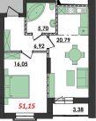 Продаж | Квартири - Хмельницький,  Озерна,  Терміново Цiна: 7 600грн.(за кв. м.) 280 $257 €(за курсом НБУ) Кількість кімнат:  1 Площа:  51.15 кв.м. - Квартири на DIM.KM.UA