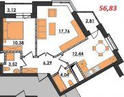 Продаж | Квартири - Хмельницький,  Озерна,  Терміново Цiна: 7 600грн.(за кв. м.) 280 $257 €(за курсом НБУ) Кількість кімнат:  2 Площа:  56.83 кв.м. - Квартири на DIM.KM.UA