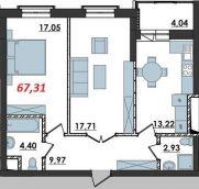 Продаж | Квартири - Хмельницький,  Озерна,  Панаса Мирного вул. Цiна: 7 600грн.(за кв. м.) 286 $262 €(за курсом НБУ) Кількість кімнат:  2 Площа:  67.31 кв.м. - Квартири на DIM.KM.UA