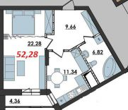 Продаж | Квартири - Хмельницький,  Озерна,  Панаса Мирного Цiна: 7 400грн.(за кв. м.) 273 $250 €(за курсом НБУ) Кількість кімнат:  1 Площа:  52.28 кв.м. - Квартири на DIM.KM.UA