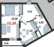 Продаж | Квартири - Хмельницький,  Озерна,  Термінво Цiна: 7 600грн.(за кв. м.) 286 $262 €(за курсом НБУ) Кількість кімнат:  1 Площа:  52.28/-/11.34 кв.м. - Квартири на DIM.KM.UA