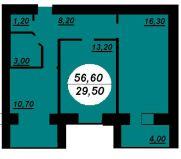 Продаж | Квартири - Хмельницький,  Заготзерно,  М.Красовського,6А вул. Цiна: 418 840грн. 15 425 $14 166 €(за курсом НБУ) Кількість кімнат:  2 Площа:  56.6/29.5/10.7 кв.м. - Квартири на DIM.KM.UA