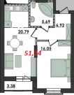 Продаж | Квартири - Хмельницький,  Панаса Мирного вул. Цiна: 7 400грн.(за кв. м.) 290 $247 €(за курсом НБУ) Кількість кімнат:  1 Площа:  51.14/16.05/20.79 кв.м. - Квартири на DIM.KM.UA