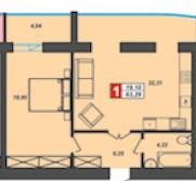Продаж | Квартири - Хмельницький,  Центр,  Прибузька Цiна: 462 000грн. 17 056 $15 038 €(за курсом НБУ) Кількість кімнат:  1 Площа:  45 кв.м. - Квартири на DIM.KM.UA